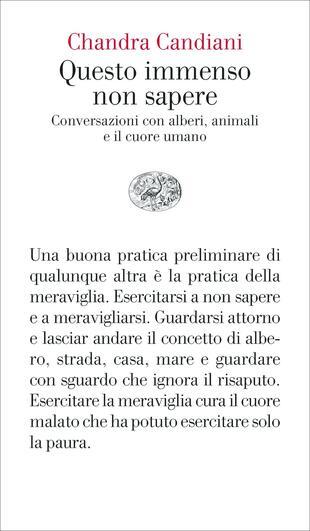 copertina Questo immenso non sapere. Conversazioni con alberi, animali e il cuore umano