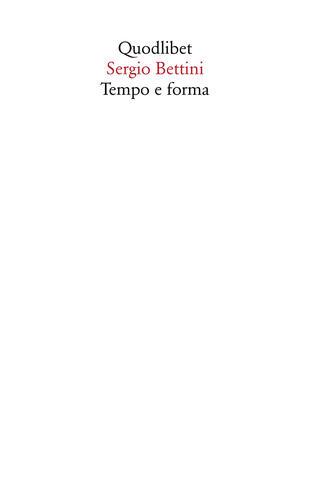 copertina Tempo e forma. Scritti (1935-1977)