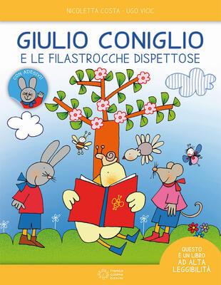 copertina Giulio Coniglio e le filastrocche dispettose. Ediz. ad alta leggibilità. Con adesivi