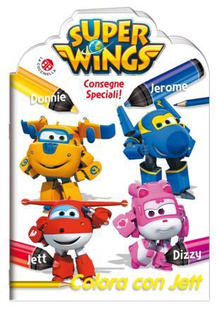 copertina Super Wings. Colora con Jett