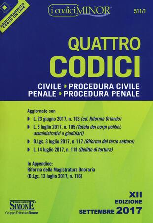 copertina Quattro codici: Civile-Procedura civile-Penale-Procedura penale. Con aggiornamento online