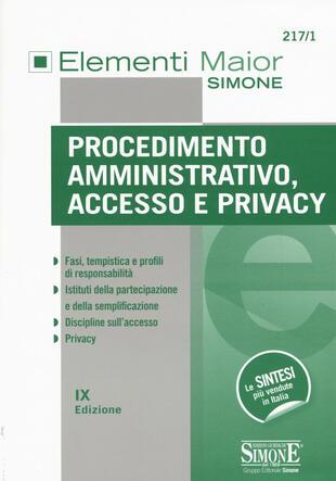 copertina Procedimento amministrativo, accesso e privacy