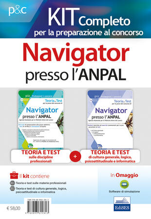 copertina Teoria e test per le prove del concorso di navigator presso l'ANPAL. Kit completo: Manuale di preparazione alle prove selettive, test di verifica e simulazioni d'esa