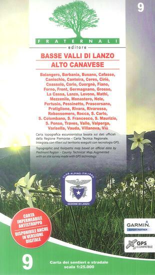 copertina Carta n. 9. Basse valli di Lanzo, alto Canavese, La Mandria, val Ceronda e Casternone