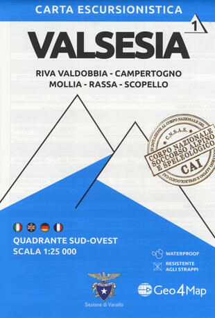 copertina Carta escursionistica Valsesia. Riva Valdobbia, Campertogno, Mollia, Rassa, Scopello. Quadrante sud-ovest 1:25.000