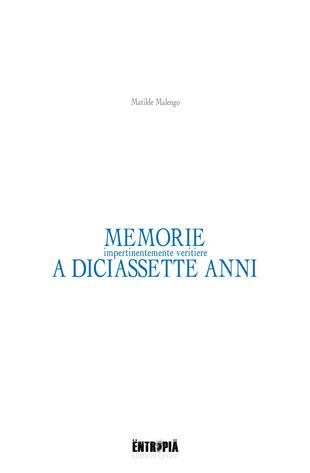 copertina Memorie (impertinentemente veritiere) a diciassette anni